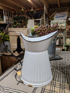 White Metal Pitcher with Faux Rust