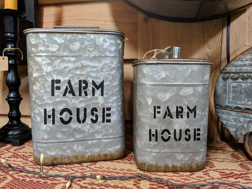Set of 2 Metal Farmhouse Canisters