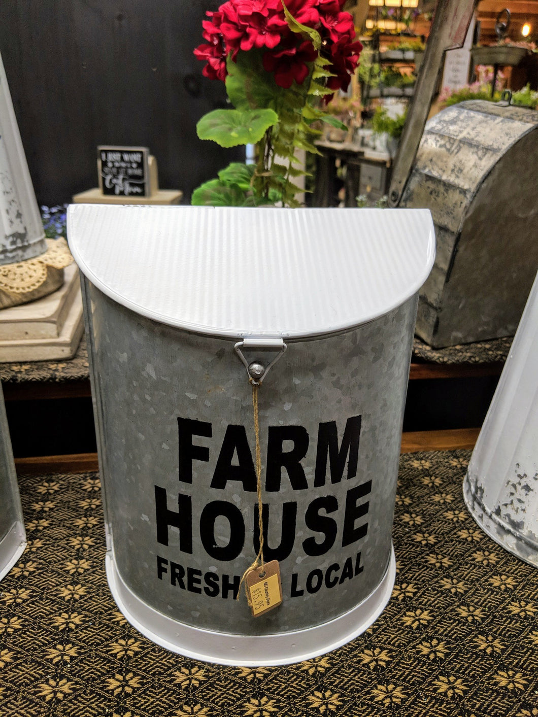 White Metal Farmhouse Canister