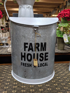 "White Metal Farmhouse Canister -12"" tall"