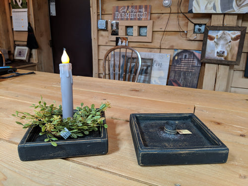Primitive Country Square Candle Holder - Antique Black