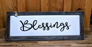 Wooden Framed Enamel Blessings Sign