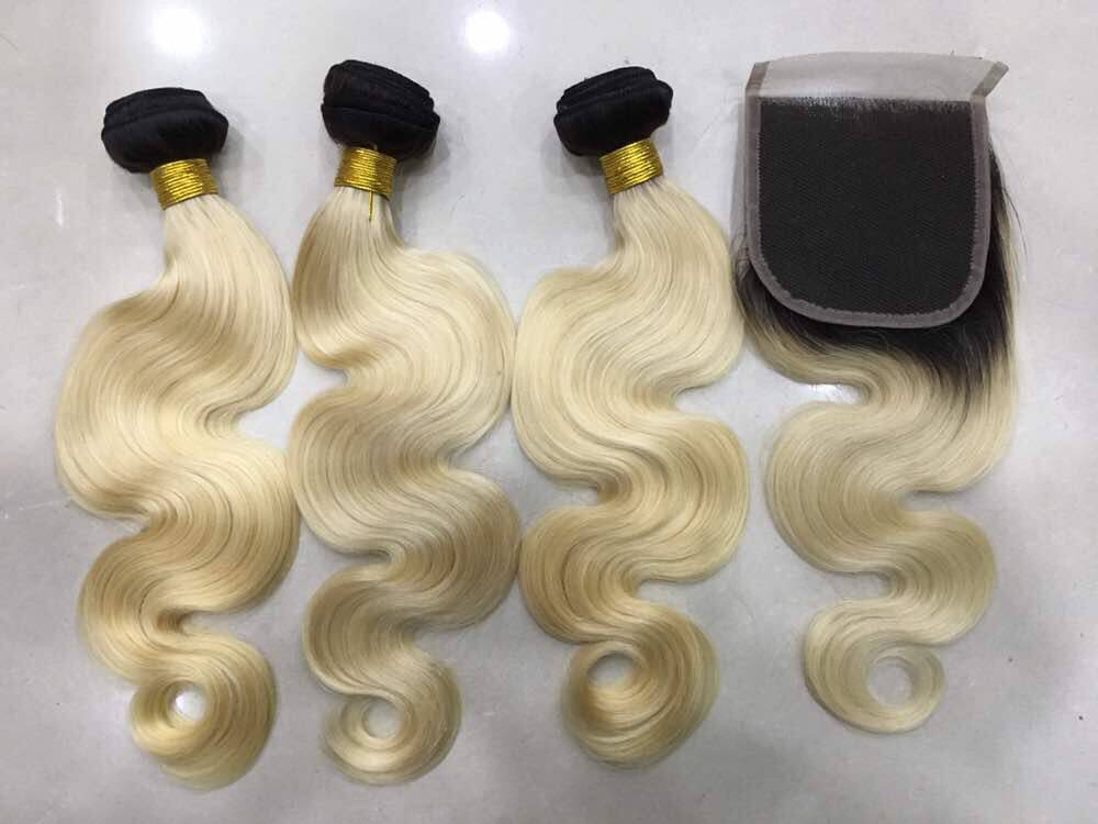613   Russian Blonde ''Black Roots With Closure""