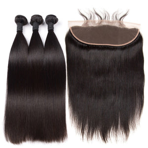 Straight Bundles With  Lace Frontal
