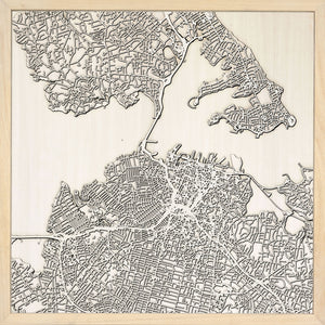 Auckland laser cut city map timber detail
