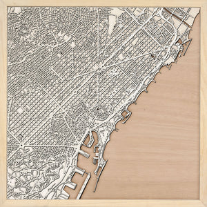 Barcelona laser cut city map timber detail
