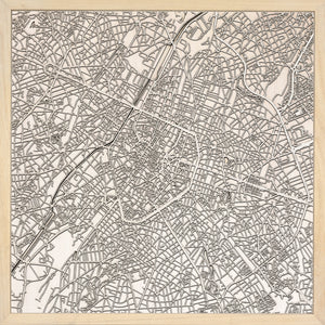 Bruxelles laser cut city map timber detail