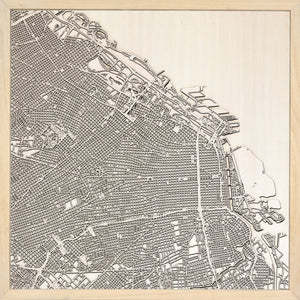 Buenos Aires laser cut city map timber detail