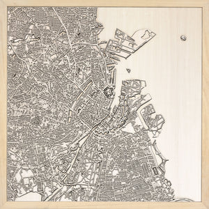 Copenhagen laser cut city map timber detail