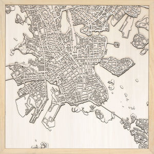Helsinki laser cut city map timber detail
