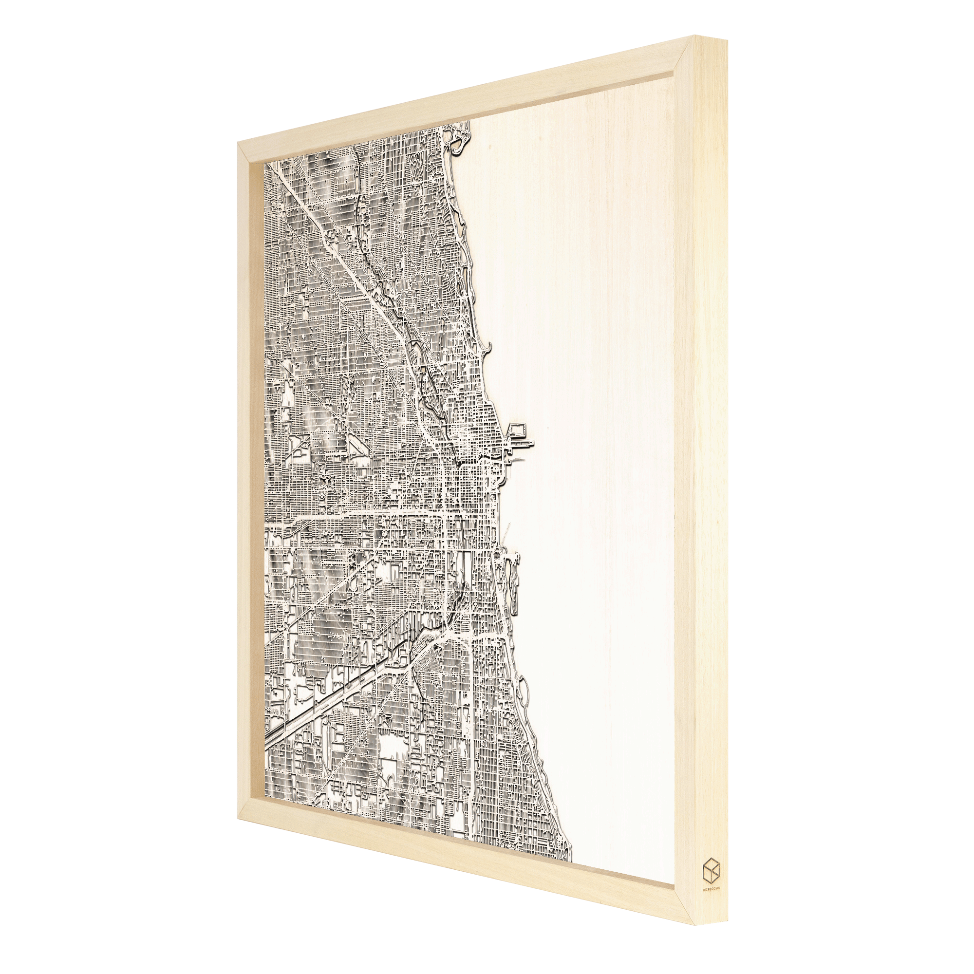 Chicago laser cut city map timber detail