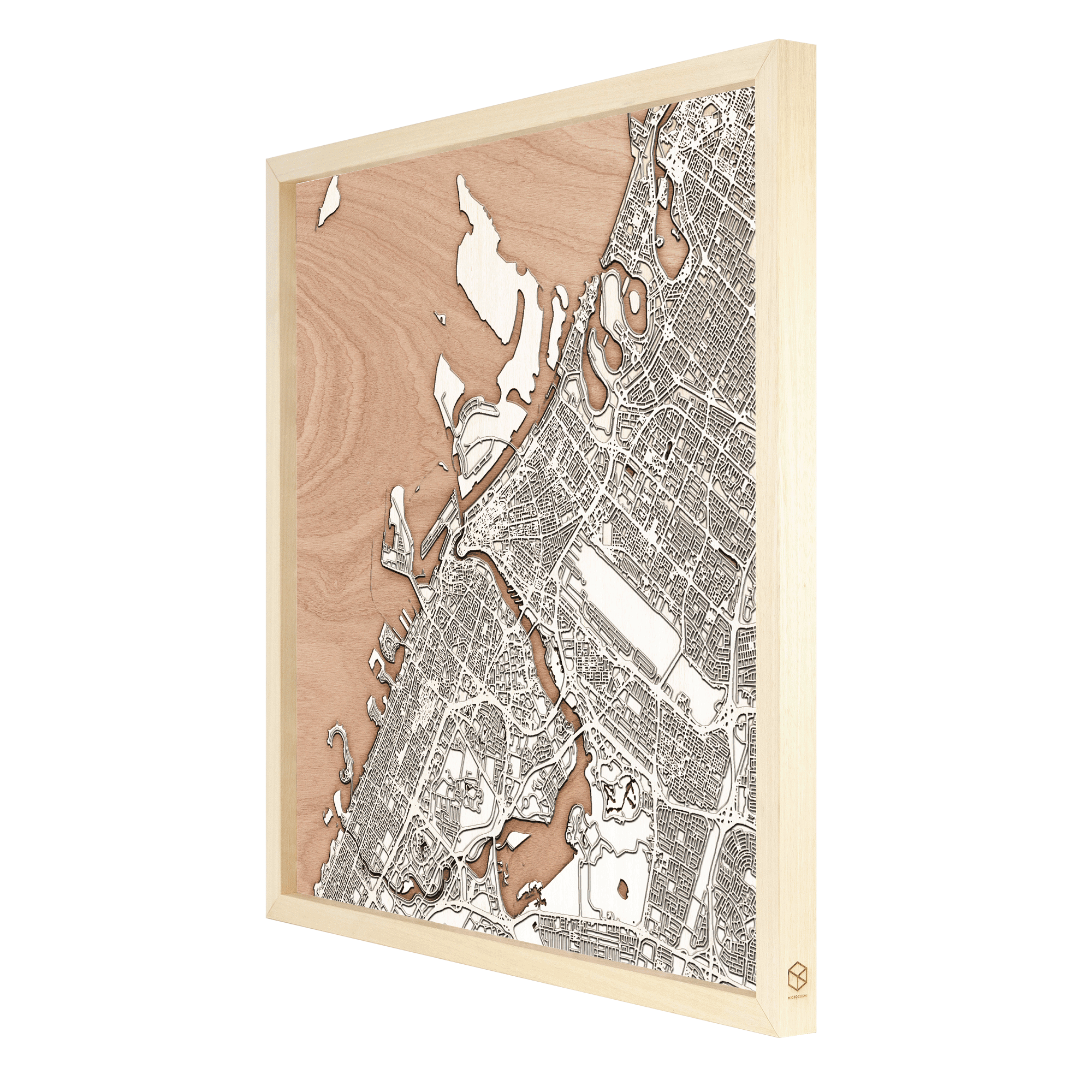 Dubai laser cut city map timber detail