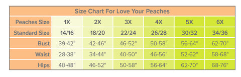 Love Your Peaches Size Chart