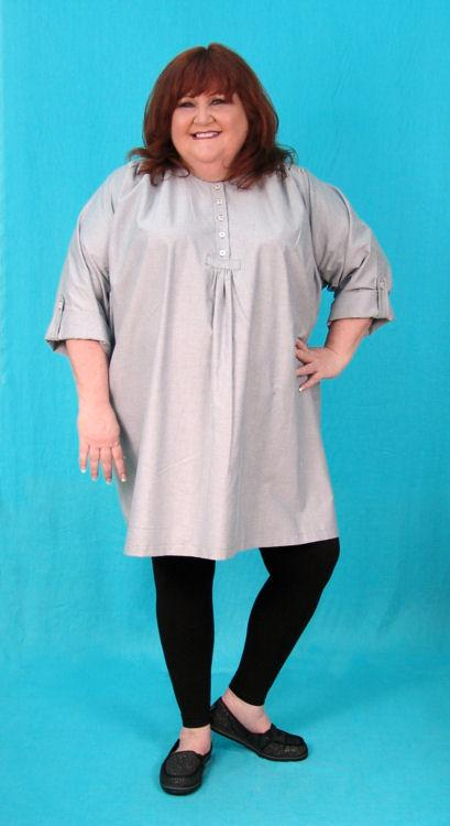 Henley Tunic with Button Tab Sleeves - Multiple Fabrics