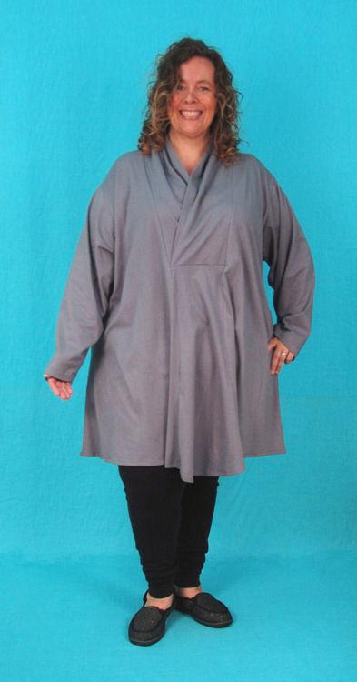 Swing Tunic with Wrap Collar - 2x photo sample - Cotton Spandex Jersey*