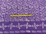 C19.8 - Cotton Voile - hand-printed - white on purple border print***