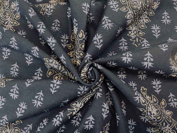 C12.5 - Hand Printed Cotton Poplin - black baroque ***