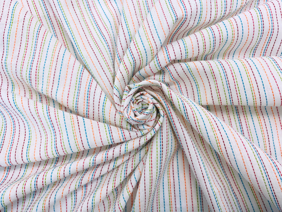 C23.4 - Woven Cotton - embroidered multi stripes **