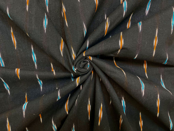 C27.2 - Ikat Cotton - black ochre aqua ****