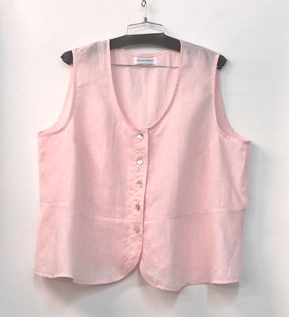 Peplum Tank - 3x -  Hanky Weight Linen - light pink *****