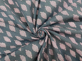 C19.1 - Cotton Voile - hand-printed - gray butta flower ***