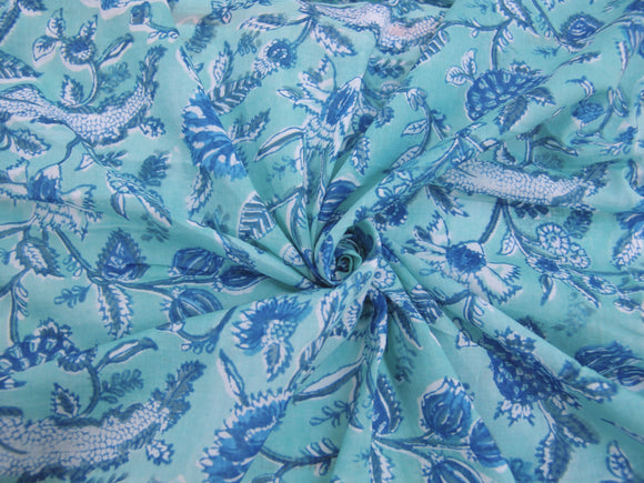 C19.7 - Cotton Voile - hand-printed - blue clover *****