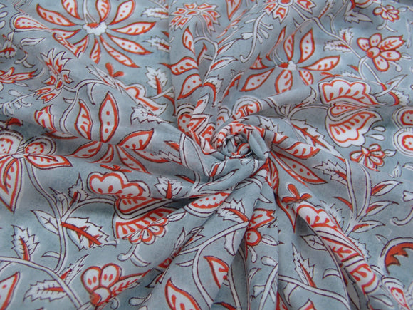 C19.6 - Cotton Voile - hand-printed - persimmon gray *****