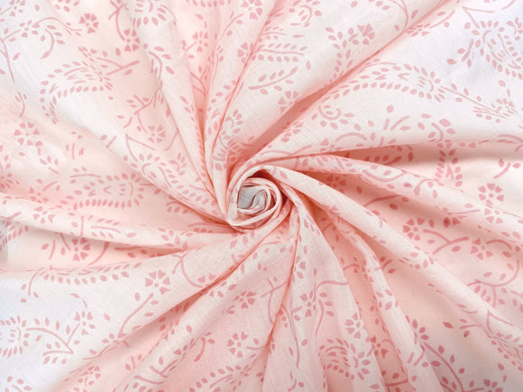 C19.2 - Cotton Voile - hand-printed - pink fern ***