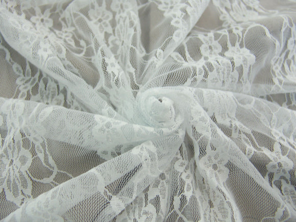 P13 - Stretch Floral Lace - white ***