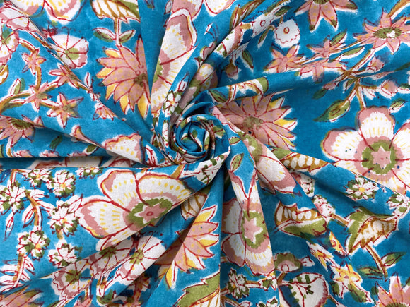 C25.8 - Hand Printed Cotton Cambric - tuscan floral ***