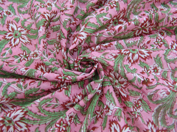 C19.4- Cotton Voile - hand-printed - wine floral *****