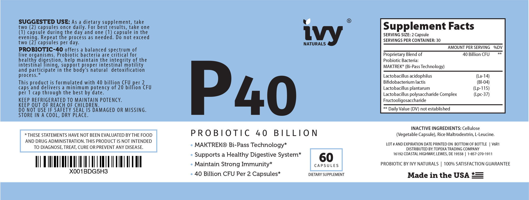 Probiotic 40 Billion ✨