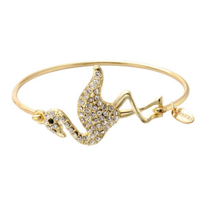Rhinestone Flamingo Bangle Bracelet