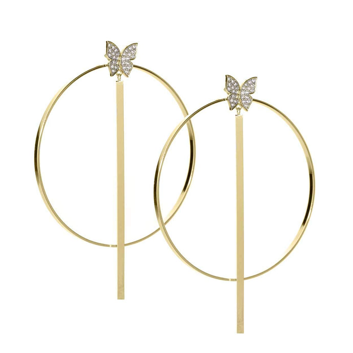 Butterfly Gold Plated Hoop Earrings
