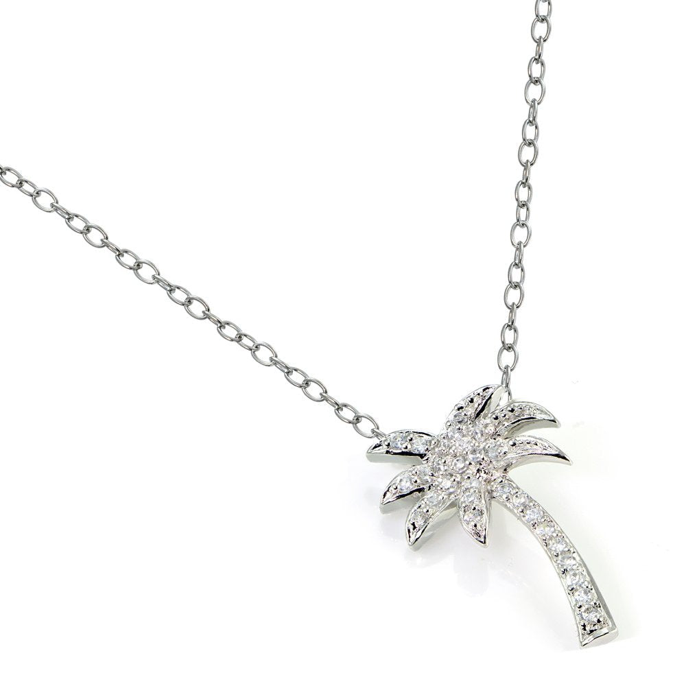 Zirconia Palm Tree Necklace
