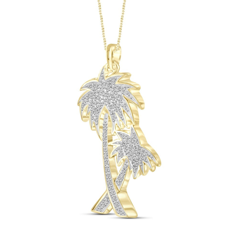 Gold Plated Brass Palm Double Tree Pendant