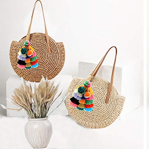 Round Straw Pompom Shoulder Bag