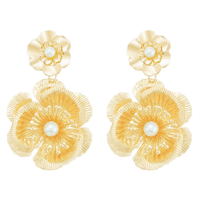 Oversized Flower Pearl Drop Dangle Earrings
