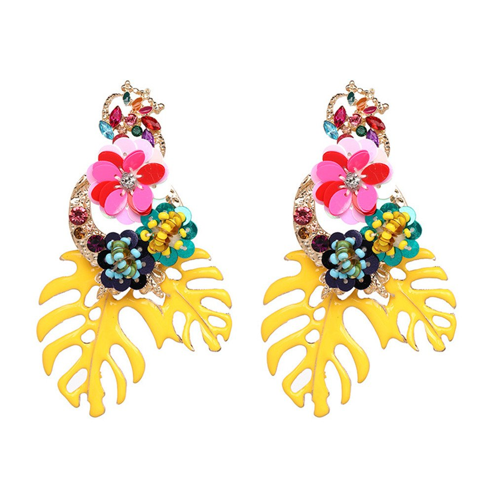 Colorful Sequin Flower Palm Leaf Earrings