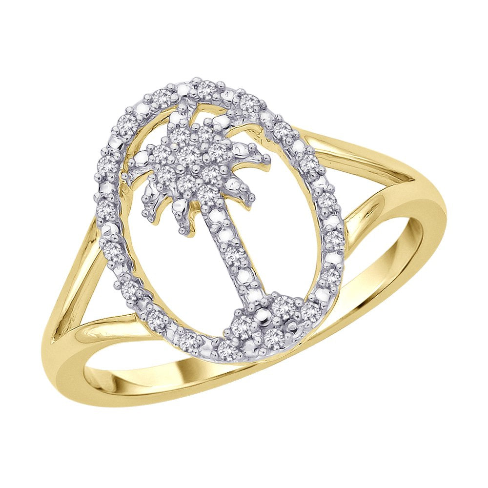 Diamond Palm Tree in Oval Ring