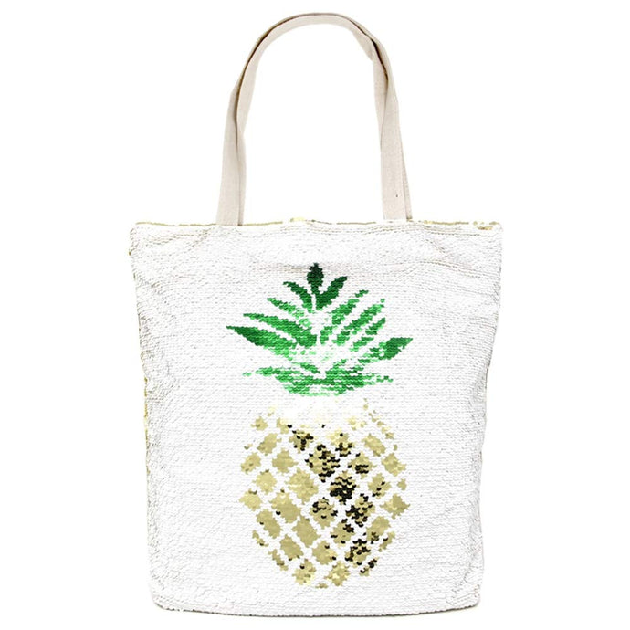 Large Sequin Pineapple Beach Tote Bag