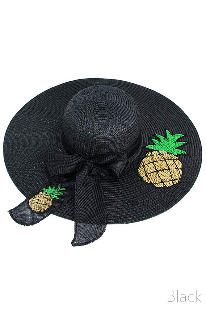 Black Sequence Pineapple Ribbon Straw Floppy Hat