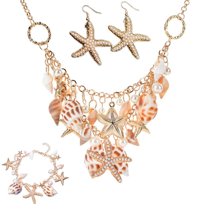 3 piece Sea Shell Starfish Faux Pearl Chunky Necklace,  Earrings, and Bracelet Set