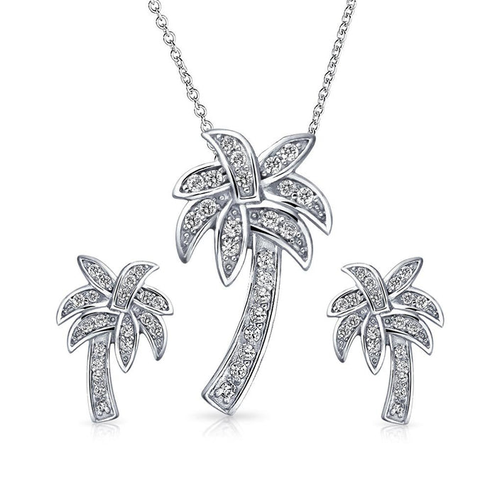 Tropical Palm Tree Pendant Necklace and Earrings Jewelry Set