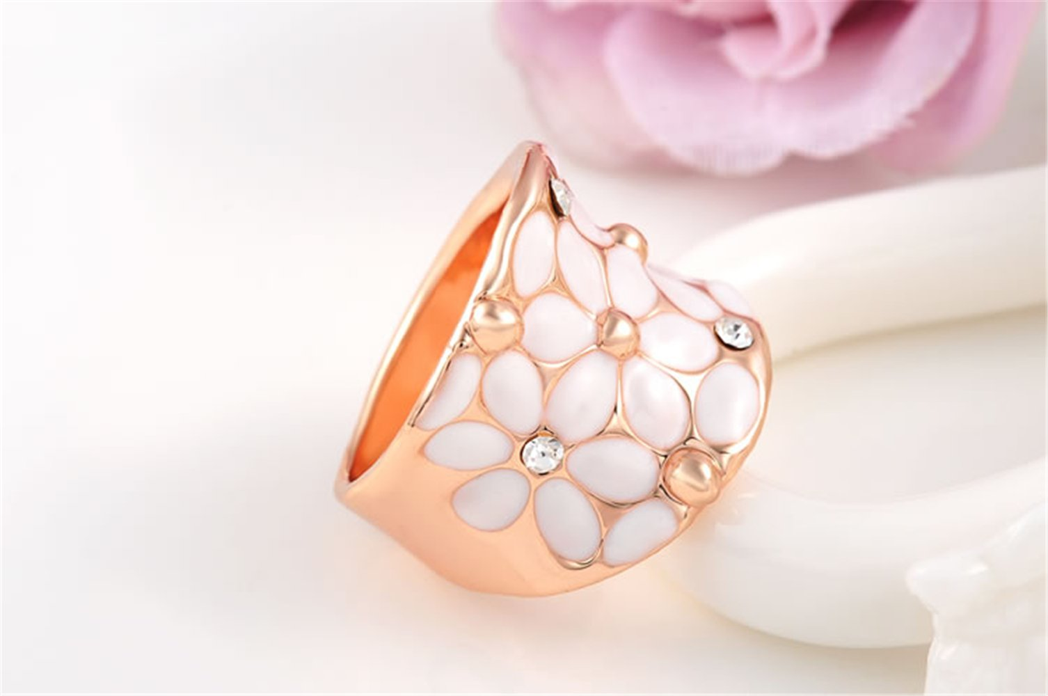 White Enamel Flower Ring