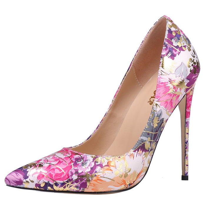 High Heel Floral Fushia & Purple Satin Party Pumps
