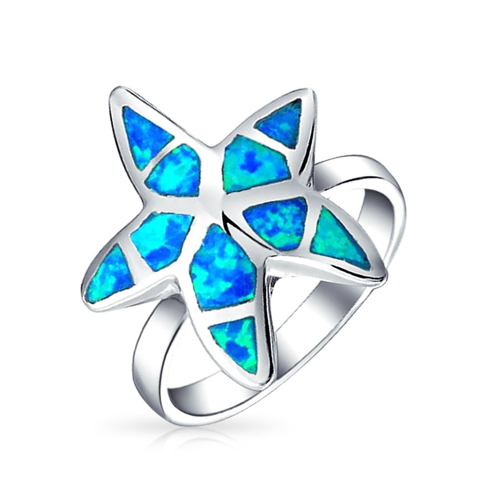 Tropical Beach Blue Opal Starfish Ring