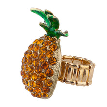 Pineapple Green Leaves Yellow Rhinestones Ring