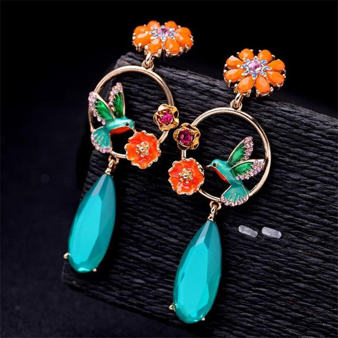 Blue Bird and Flowers Enamel Crystal Dangle Earrings