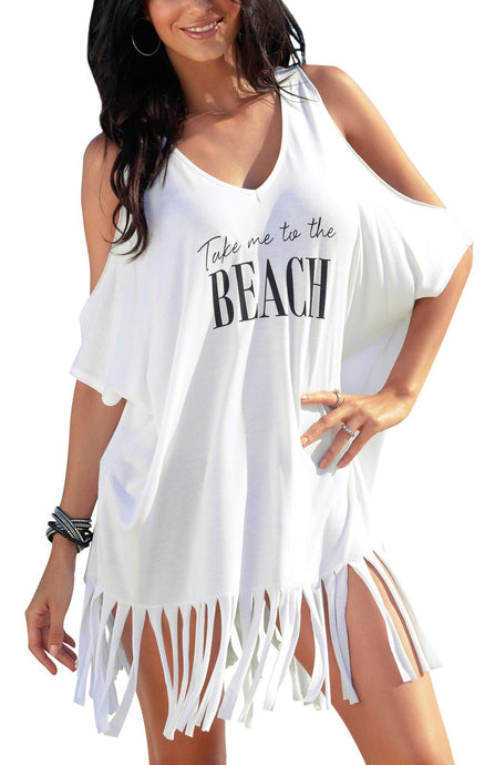 Take Me to the Beach Swimsuit Coverup Graphic Dress